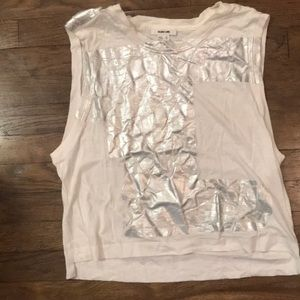 Helmut Lang tank top with metallic silver detail